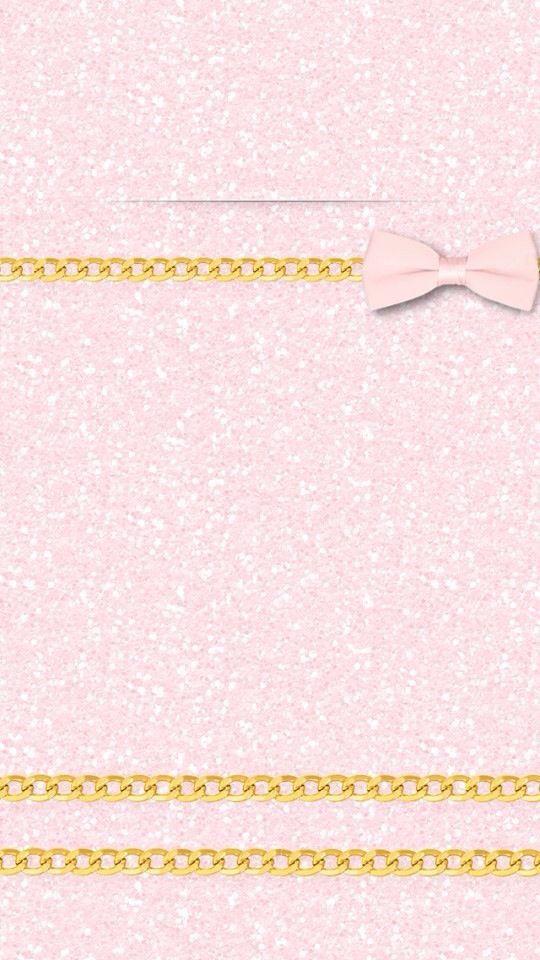 Pink Girly Glitter Ribbon Gold iPhone Wallpaper Lock ...