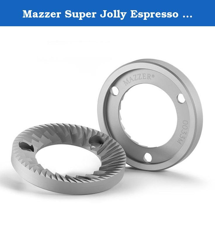 """Mazzer Super Jolly Espresso Grinder OEM Repalcement Burrs - 33M. Original Mazzer replacement grinder burrs for the Mazzer Super Jolly Espresso Grinder. These OEM replacement burrs will grind approximately 880 pounds of coffee before needing replacement. Packaged and sold as a set of 2 burrs, with the Mazzer name and part number etched on them. PLEASE NOTE: It is common for grinder burrs to have """"spots"""" of oxidization from exposure to air, this does not mean that the burrs are used or are..."""