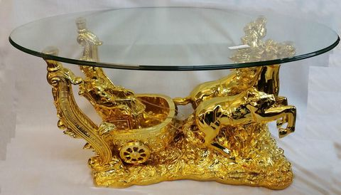 Clear Glass Coffee Table in Roman Horse Italian Style Shiny Gold or Cream Finish…