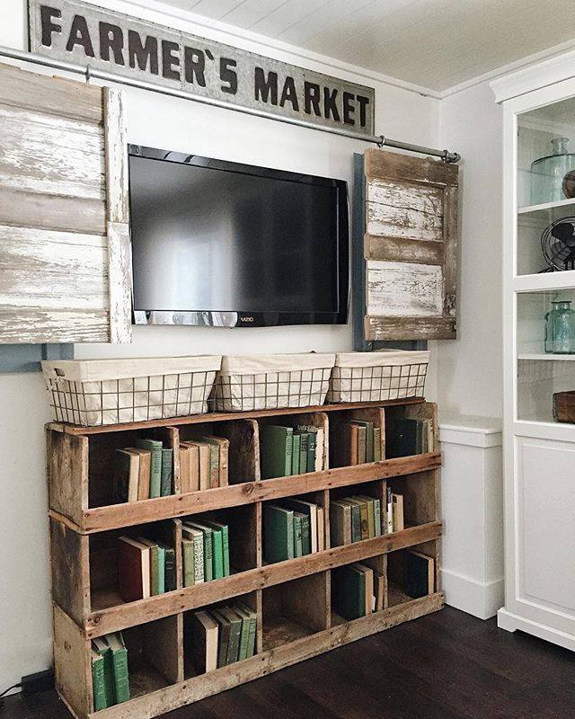 Pin for Later: Fixer Upper Fans Have a New Website to Be Addicted To Because she created sliding barn doors to hide her TV