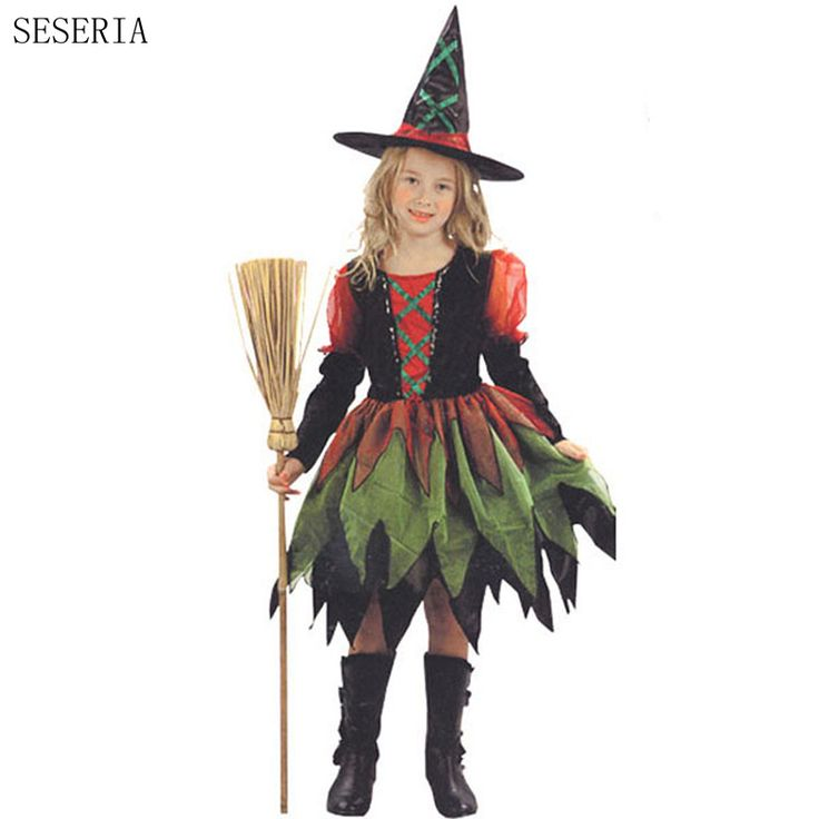SESERIA Halloween Witch Costume For Girls Role Play Cosplay Performance Dance Show Halloween Costumes For Kids  #Affiliate