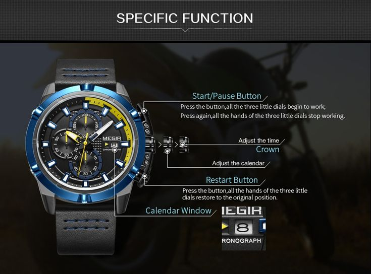 MEGIR Fashion Sport Men Watches 3ATM Water-resistant Quartz Sales Online black&blue - Tomtop.com  #women #men #fashion #jewelry #watches