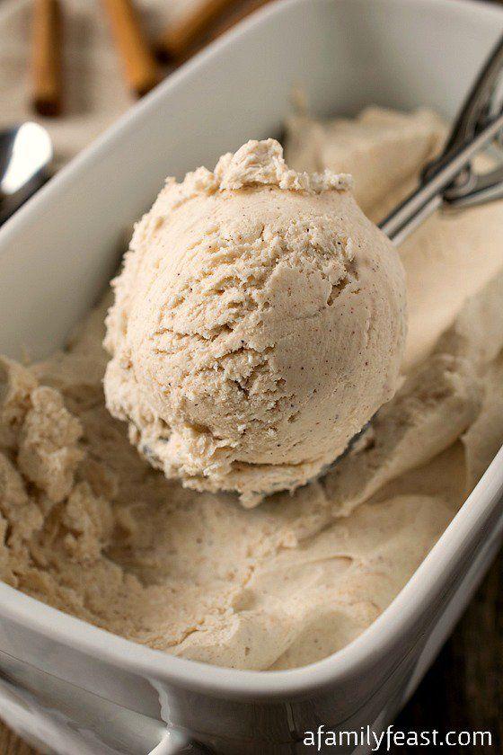 No-Churn Cinnamon Ice Cream - Just three ingredients and no ice cream maker needed!