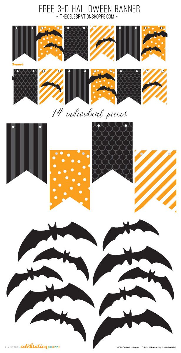 Black & Orange Halloween Banner With 3-D Bats – Free Party Printable | Kim Byers, TheCelebrationShoppe.com #freeprintable #Halloween