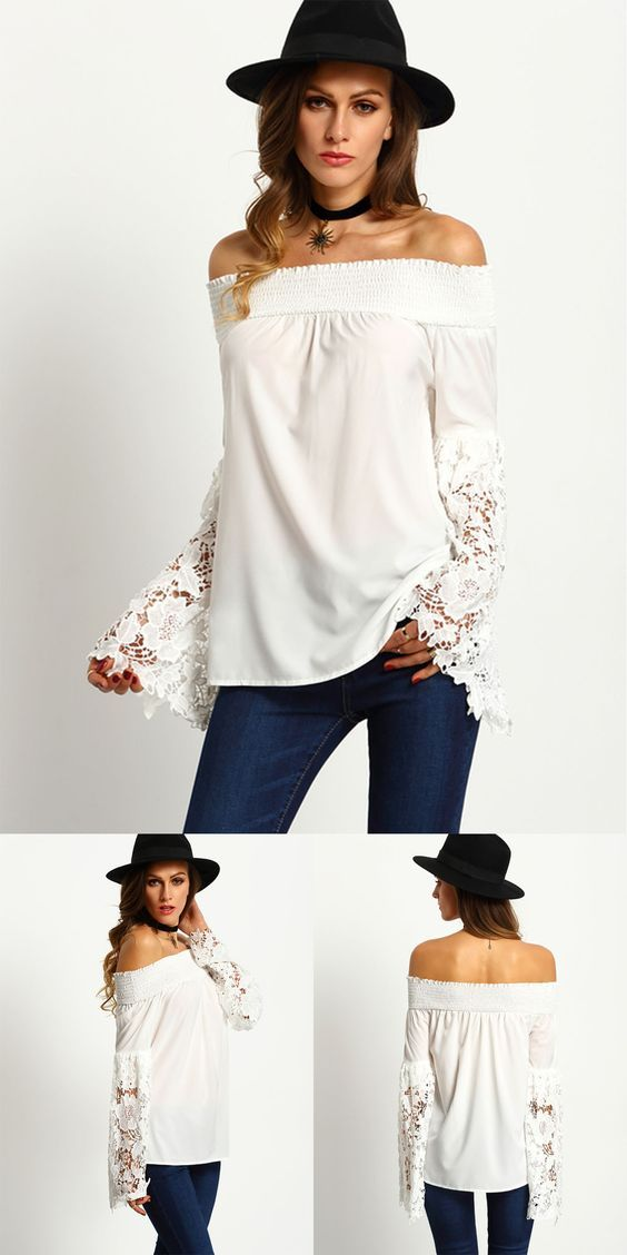 White strapless off shoulder top features sheer lace cuff sleeve that can be paired with denim jeans for an effortless beach look, perfect for the summer.: