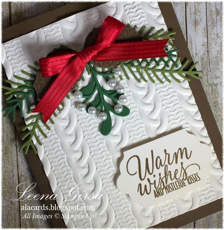 A La Cards - SU - Tin of Tags - Pretty Pines Thinlits - Christmas