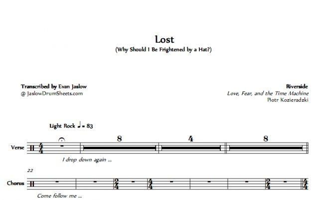 Riverside - Lost tab drum sheet music transcription. Taken from the 2015 album Love, Fear and the Time Machine. Notation key included. Progressive rock. Difficulty 2/5. #drums #drumsheetmusic #riverside