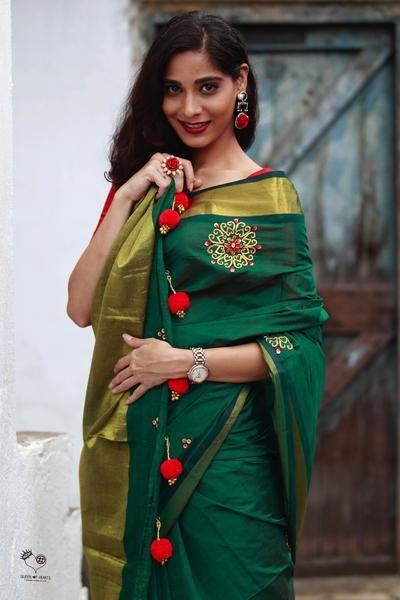 Emerald Green Kundalam Kanjivaram Silk Cotton Saree