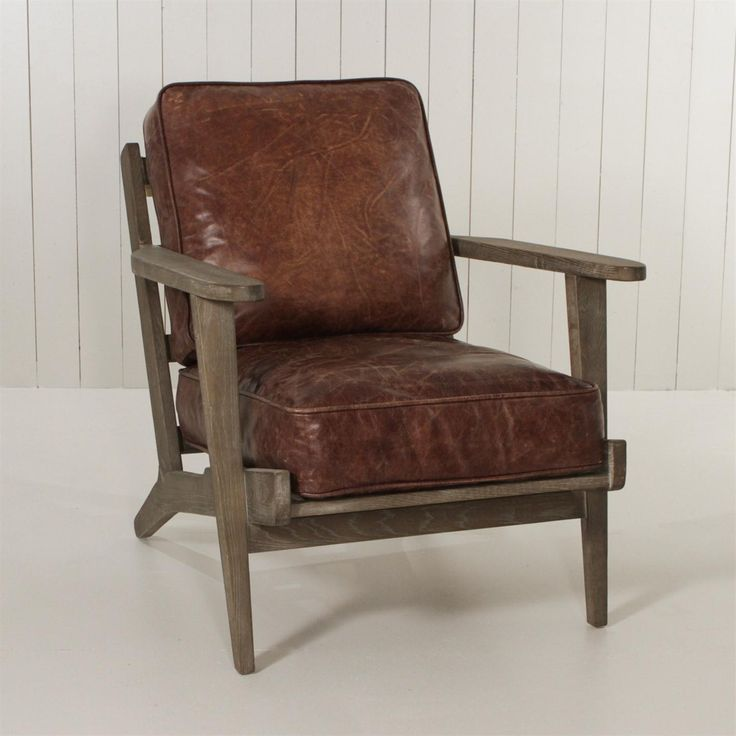 Leather And Wood Old Arm Chair Achica Chair Wooden Armchair