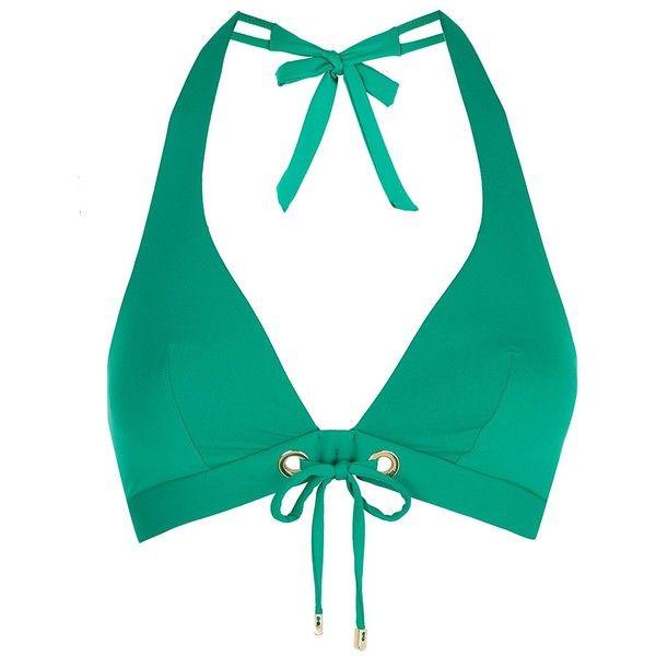 Huit Women's Dressy Molded Banded Halter Bikini Top Tropical Green 30B ❤ liked on Polyvore featuring swimwear, bikinis, bikini tops, swimsuit tops, banded halter bikini, swim tops, green swimwear and green bikini