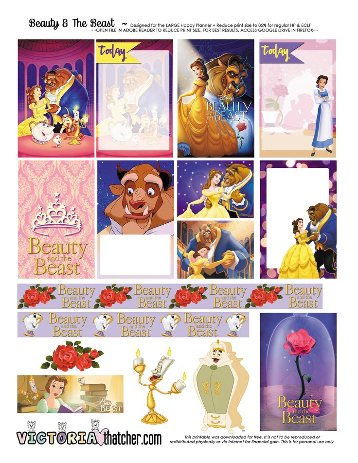 Free Printable Beauty and the Beast Planner Stickers - Victoria Thatcher