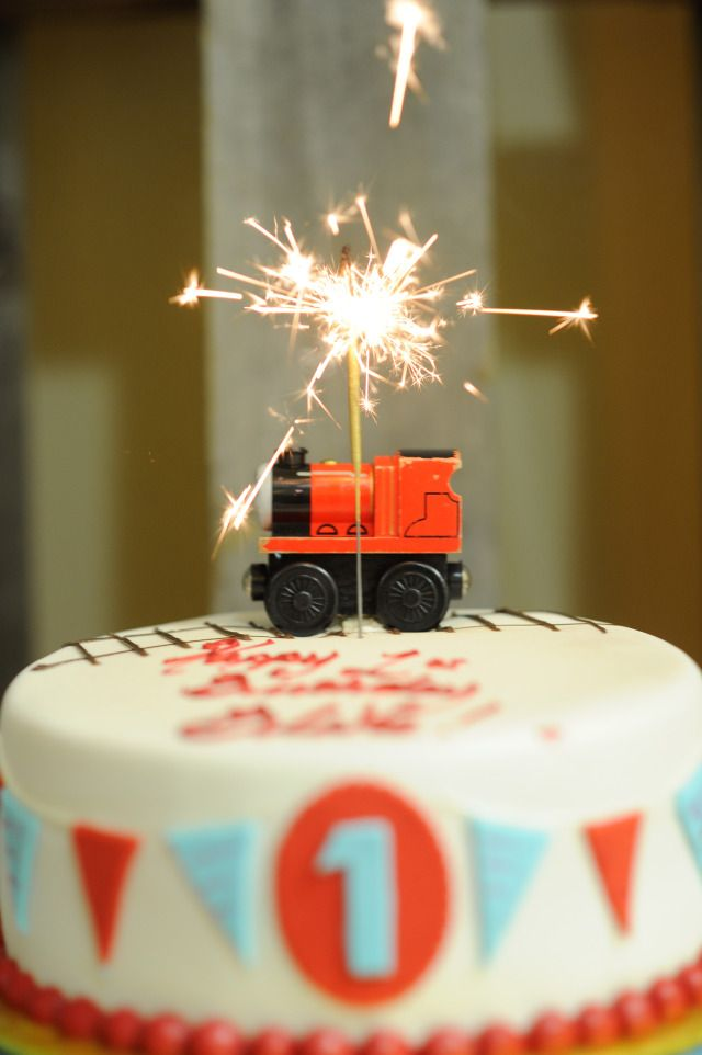 Train-themed first birthday at Gymboree Play and Music!