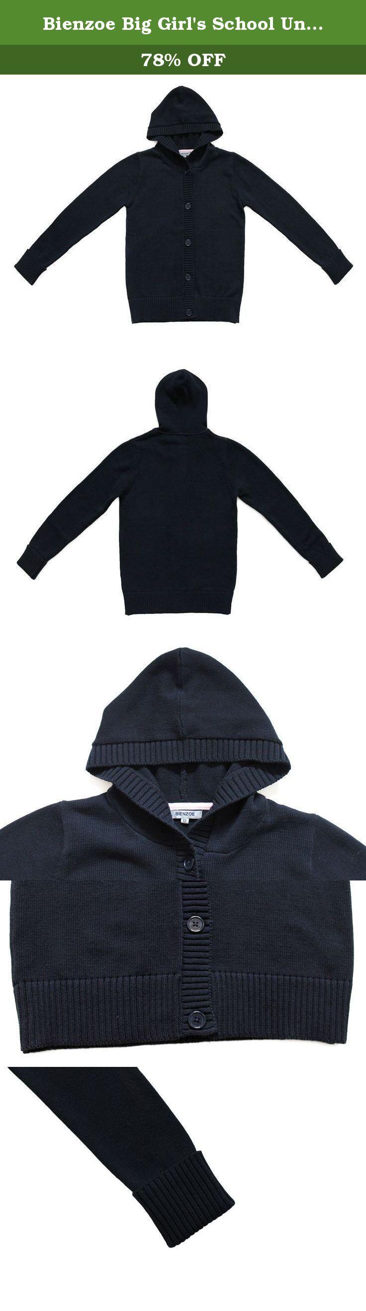 "Bienzoe Big Girl's School Uniforms Antistatic Hooded Cardigan Sweater Navy 16. 1. Bienzoe Size Chart 7--Bust:29.13"", Shoulder:11.4"", Sleeve:20.47"", Body Length:19.88"" 8--Bust:30.7"", Shoulder:11.8"", Sleeve:20.86"", Body Length:20.66"" 10--Bust:32.3"", Shoulder:12.2"", Sleeve:21.25"", Body Length:21.45"" 12--Bust:33.85"", Shoulder:12.6"", Sleeve:21.65"", Body Length:22.24"" 14--Bust:35.43"", Shoulder:13"", Sleeve:22.04"", Body Length:23.03"" 2. Service Guarantee * If you received an incorrect, damaged..."
