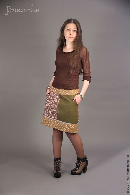 юбка ДВЕ СТОРОНЫ - хаки,рисунок,интересная юбка,юбка из хлопка,юбка в цветочек