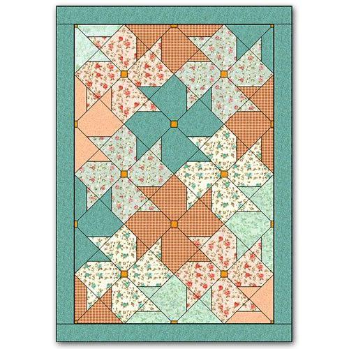 """Kit """"Blossoms Quilt"""" (projeto com tecidos para manta ou colcha de berço) :: Country Craft Studio Patchwork"""