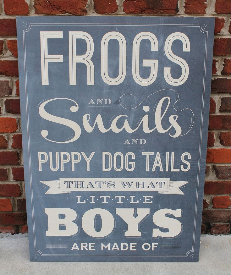 Frogs and Snails and Puppy Dog Tails, That's What Little Boys Are Made Of. Vintage Wooden sign for Little Boys.
