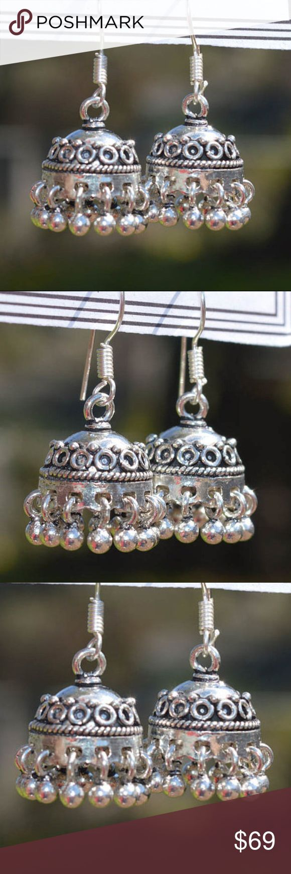 """' London, Paris, Monte Carlo, Germany & Rome ' nwt Beautiful silver Jhumka earrings. *Offers warmly welcomed! Total Length : 2 inches  Total Width : 1/2"""" Jewelry Earrings"""