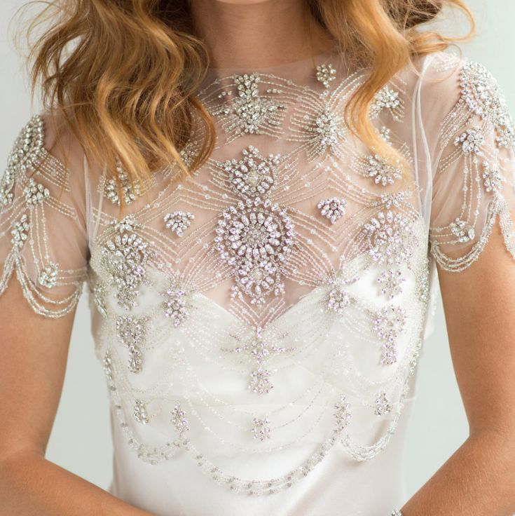 Bridal Cover-up Wedding Crop Top, 1920's Crystal Beaded Short Sleeve Beaded Fringe Swag Bolero Rhinestone Jacket, Camilla Christine DAISY