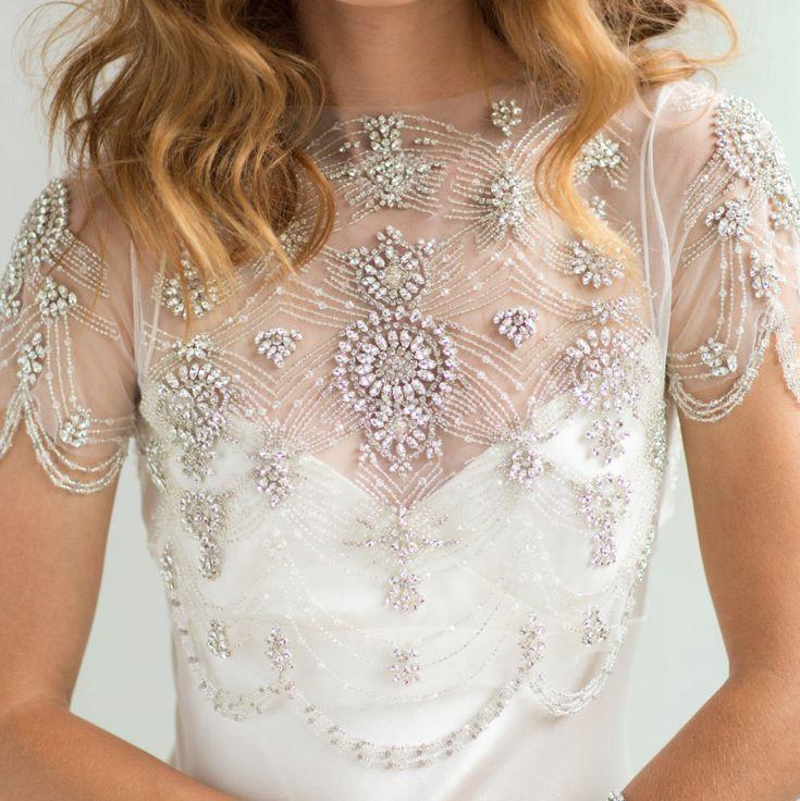 Bridal Cover-up Wedding Crop Top, 1920's Crystal Beaded Short Sleeve Beaded Fringe Swag Bolero Rhinestone Jacket, Camilla Christine DAISY