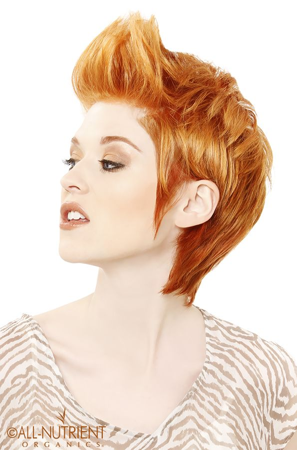 Pristine Intense Copper Hair Color With A Short Sassy Cut