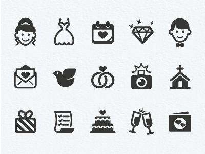 Dribbble - Wedding Icons Final by Scott Dunlap