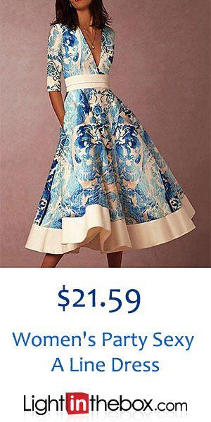 Women's Party Sexy A Line Dress – Floral Print High Waist V Neck Spring Blue XL XXL XXXL