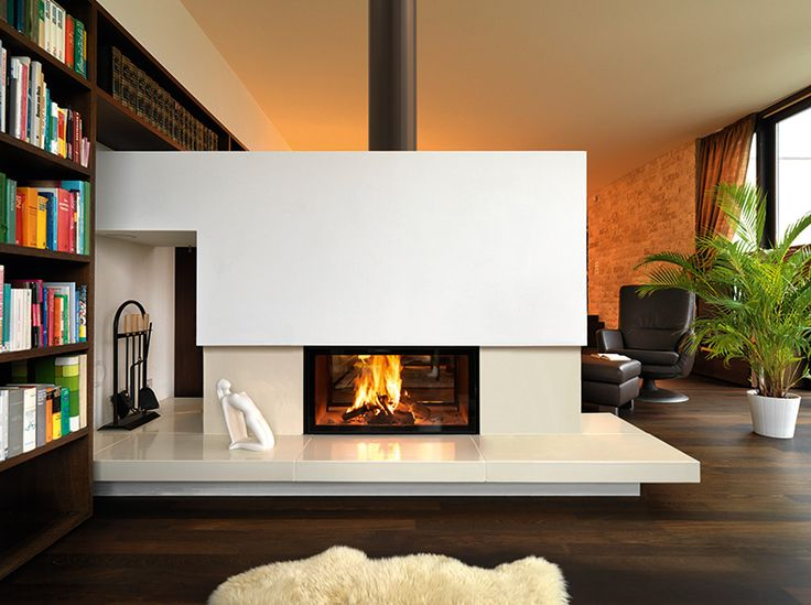 Double sided wood fireplace
