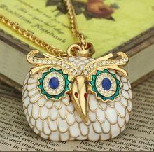 Di modo sveglio di modo stereoscopico collana del gufo, cristallo colorato notte pendente della collana owl  (China (Mainland))