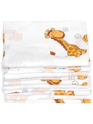 Pielucha tetrowa 70/80cm Biała z wzorem żyrafy  • 100% bawełna • wymiary 70cmx80cm • produkt polski • najwyższa jakość