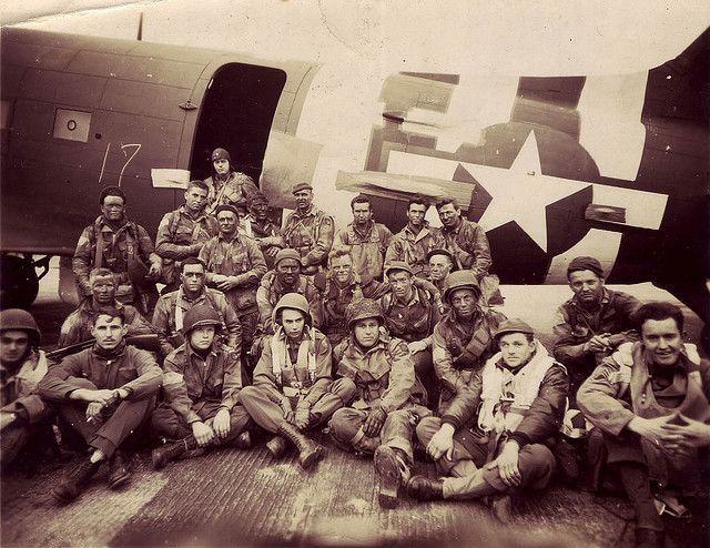 Chalk 17 poses for a photograph before departing for Normandy.  This  image shows the paratroopers and air crewmen of Pathfinder Team #2 of  the 508th Parachute Infantry Regiment/82nd Airborne Division on the evening of Monday, June 5, 1944 shortly before taking off to go to  France.  They are posing in front of aircraft #42-93096, a Douglas C-47A that is in the collection of The National WWII Museum.