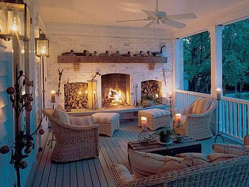 Fireplace on the porch - I love this!