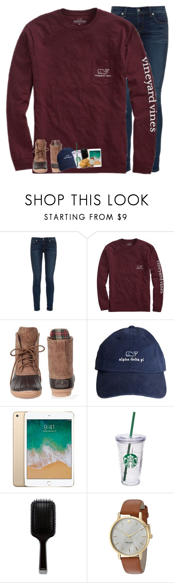 """night everyone "" by rileykleiin ❤ liked on Polyvore featuring rag & bone, Vineyard Vines, Starbucks, GHD and Kate Spade"