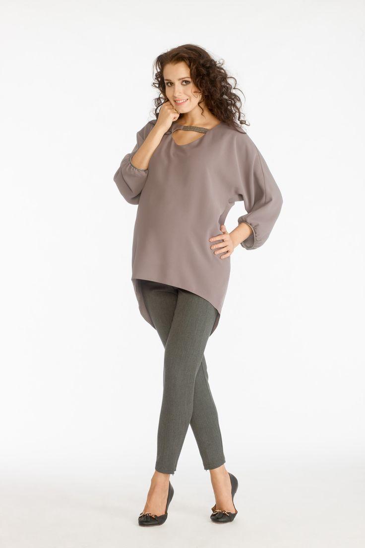 Yeva shirt cappuccino & Baco trousers grey melange