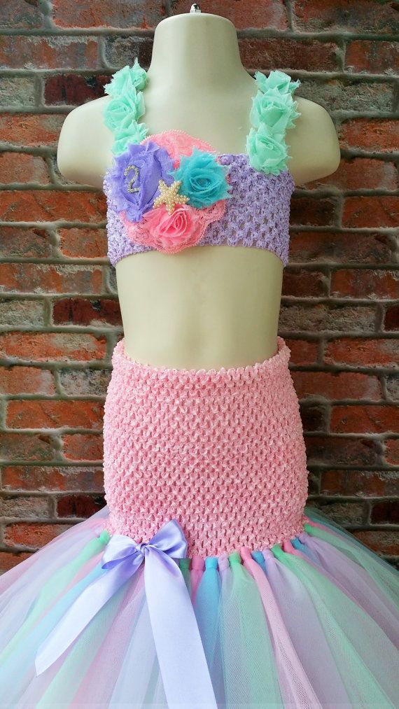 Rainbow Mermaid tutu dress. Ariel tutu dress. Beach tutu