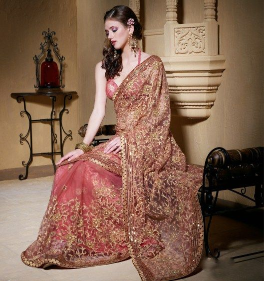 Dazzling Diva Deep Rose Pink Net Embroidered Saree With Sequins Work