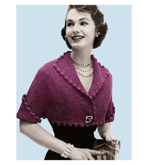 Vintage Knitting Pattern 1950s Pom Pom Bolero Digital Download PDF