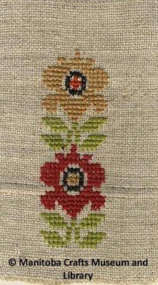 Crafts Guild of Manitoba Samplers    These samplers were created and assembled in a book for easy ordering of motifs on items such as napkins,    table cloths and runners. Motifs were available in   counted cross stitch and surface embroidery.  -Floral motif on hand woven linen