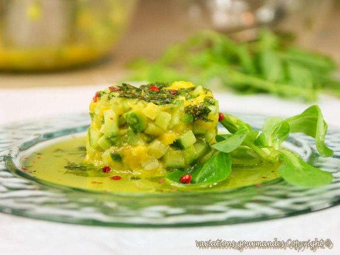 Variations Gourmandes: Salade de concombre libanais et mangue à la menthe