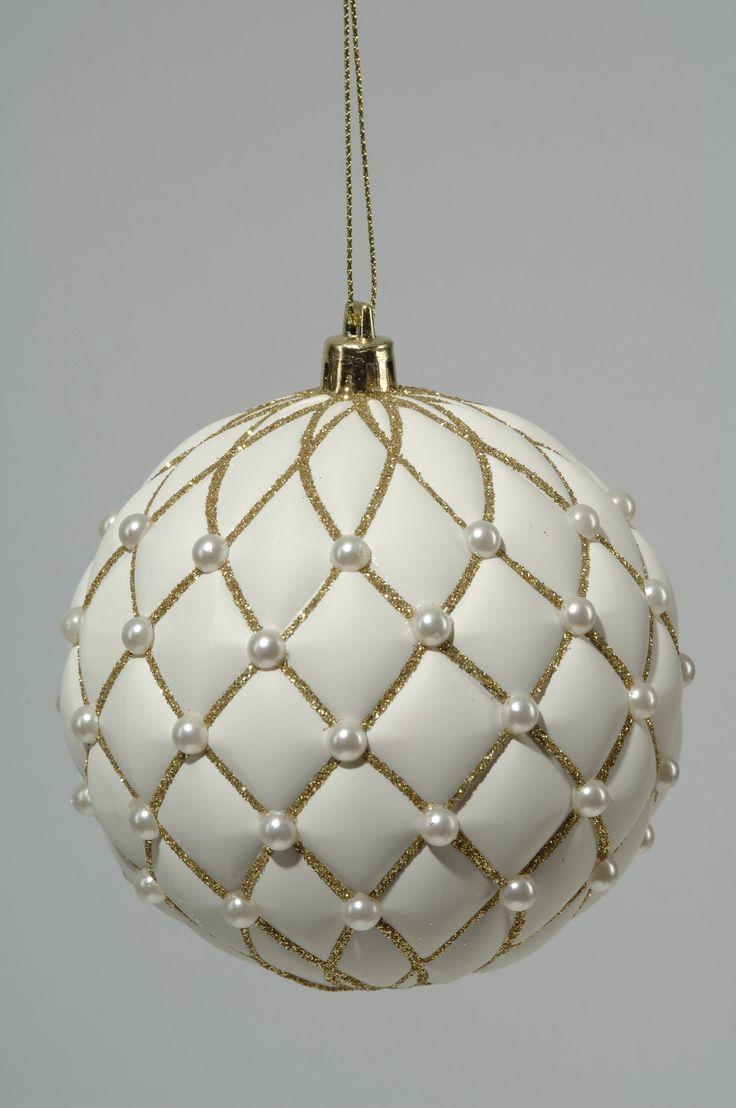 2-Stueck-Kugeln-mit-Perlen-D10cm-weiss-mit-gold-Weihnachtskugeln-Baumschmuck