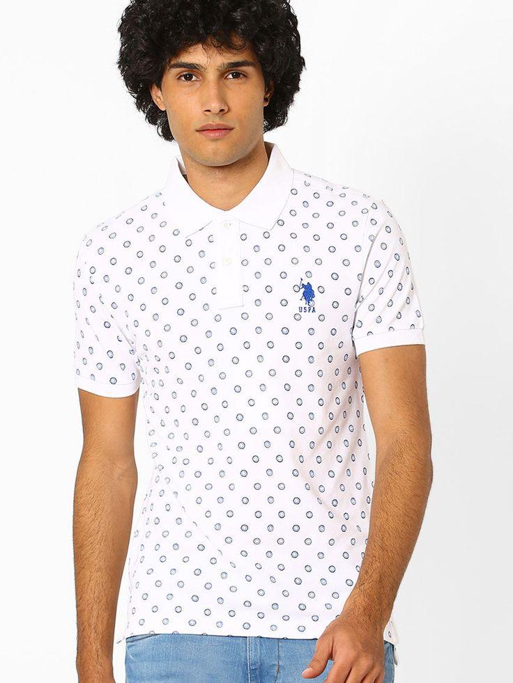 U.S.Polo Cotton Printed White Polo T-shirt