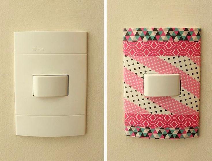 Interruptores devidamente encapados com washi tapes! Dá uma outra cara ao ambiente, não é mesmo?
