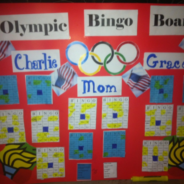 Olympic Bingo...  The Olympic events on the white are marked when the kids see that event; the events on the blue cards are marked when the US medals in that event.   There are prizes for the winning Bingo cards....  I have never seen the kids so excited to find handball- they have had alot of fun....