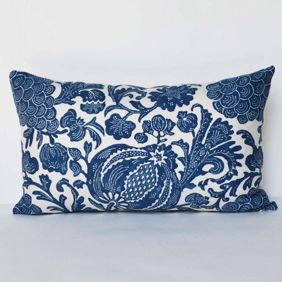 Decorative Pillow 12 x 20'' Accent Pillow Batik Indigo Throw Pillow Cushion cover