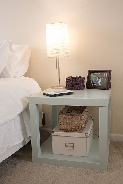 Buy 2 ikea lack tables ($8) and combine with wood glue to create nightstand.