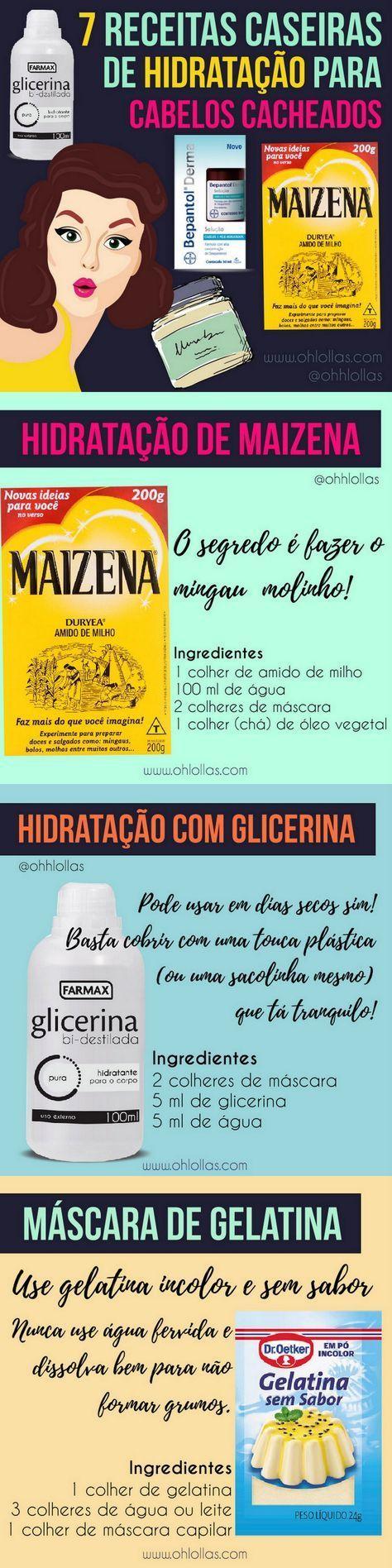7 RECEITAS DE HIDRATAÇÃO PARA CABELOS CACHEADOS E CRESPOS - Receitas caseiras para hidratação (maizena, glicerina, abacate com mel, desmaia cabelo caseiro...), nutrição (óleos vegetais e leite de coco) e reconstrução com queratina líquida para cronograma capilar, transição capilar.