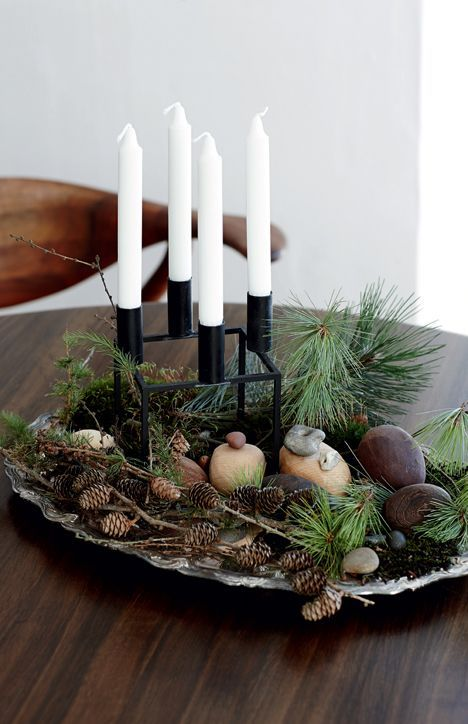 Decorative and nordic advent wreath for Christmas.
