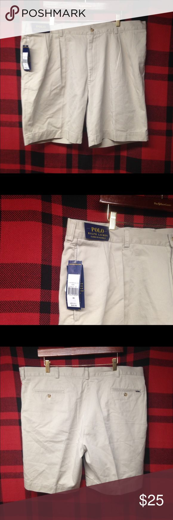NWT Polo Ralph Lauren shorts sz40 NWT POLO Ralph Lauren classic chino pleated shorts sz 40 classic style staple Polo by Ralph Lauren Shorts Flat Front