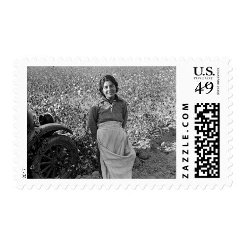 Migrant Worker in Cotton Field by Dorothea Lange Postage