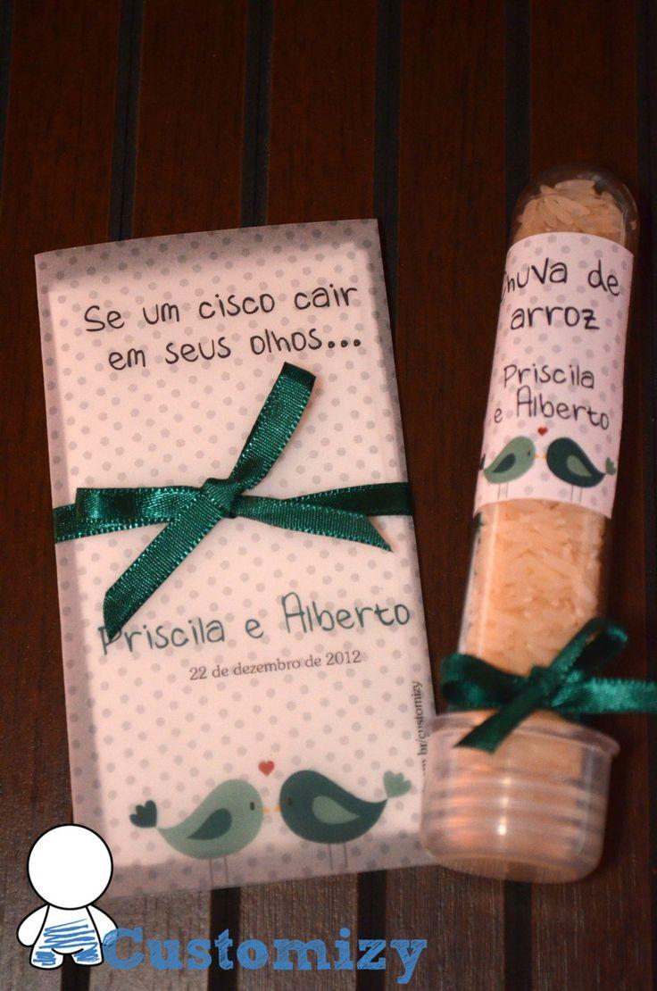 Kita para cerimônia de casamento. <br> <br>Lágrima de alegria: envelope em papel vegetal com laço em fita de cetim. Acompanha 2 lenços de papel. <br>Chuva de arroz: Tubete de 13cm, com adesivo personalizado e laço em fita de cetim. Acompanha arroz. <br> <br>Consulte outros modelos.