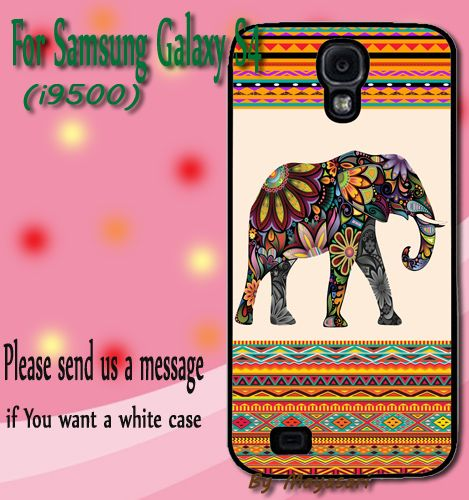Elephant Aztec Gift Print On Hard Plastic Samsung Galaxy S4, Black Case  Show off your signature style with a cool and customizable hard shell case for your Samsung Galaxy S4 I9500. Combining luxury w